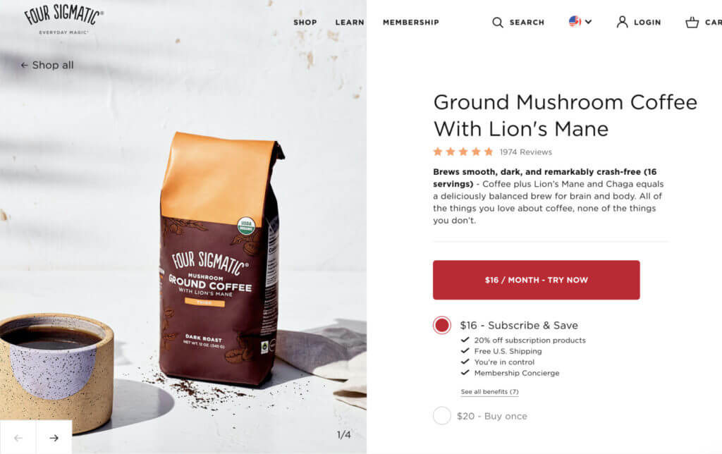 Four Sigmatic product page with unique product attributes