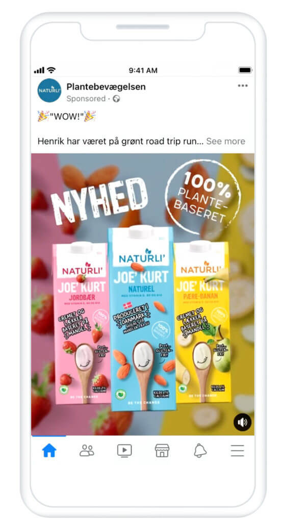 Naturli Facebook ad for awareness