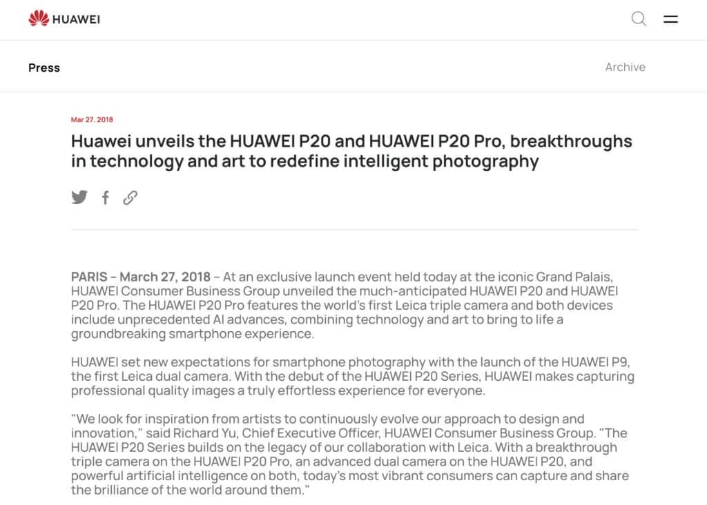 Screenshot of a Huawei press release