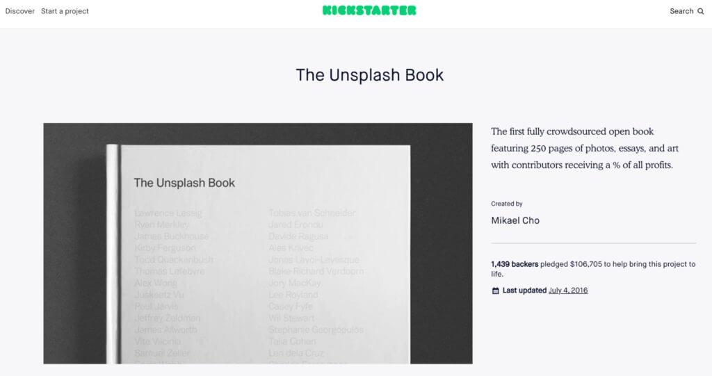 Unsplash kickstarter campaign