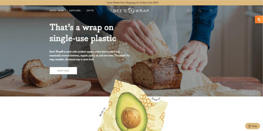 Bee's Wrap home page screenshot