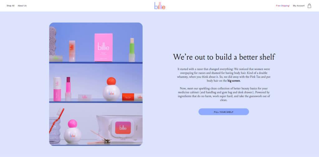 Billie home page screenshot
