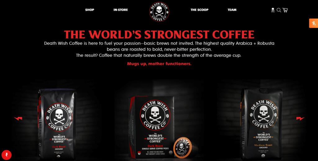 Death Wish Coffee home page screenshot