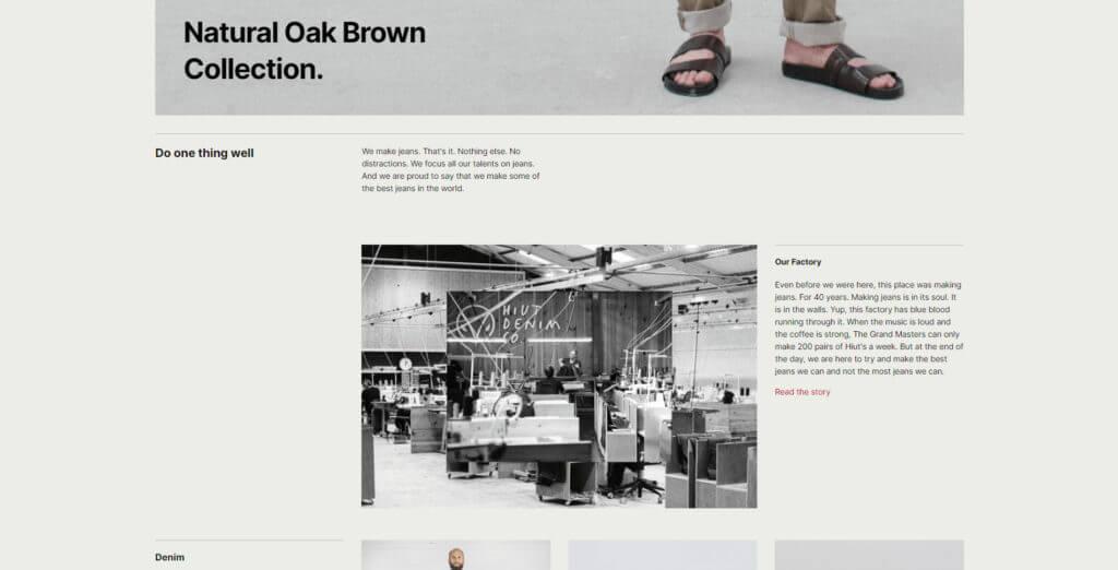 Hiut Denim home page screenshot