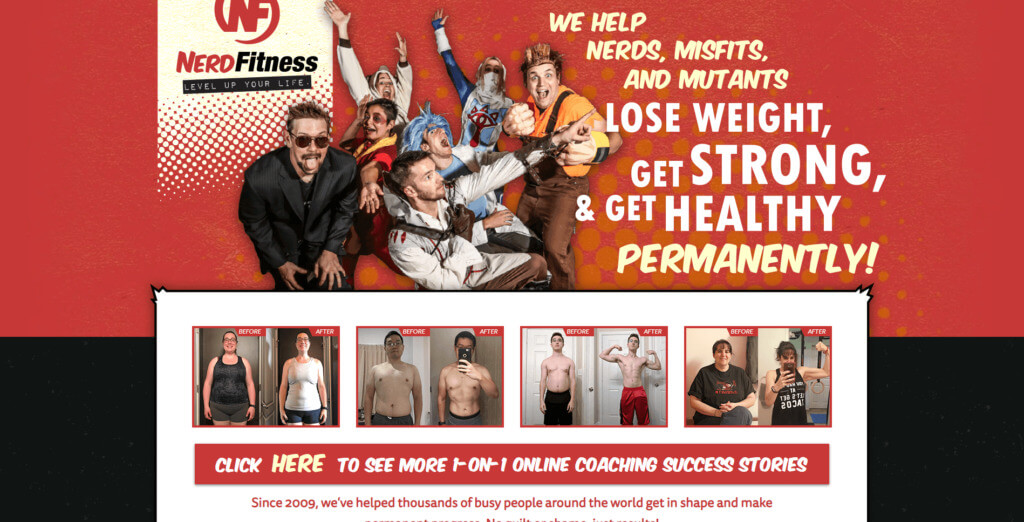 Nerd Fitness home page screenshot