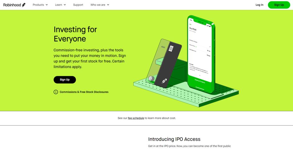 Screenshot of the Robinhood home page
