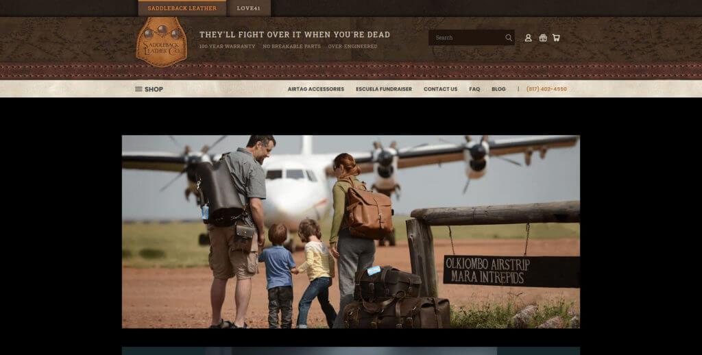 Saddleback Leather home page screenshot