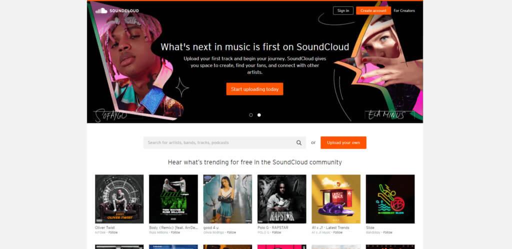 SoundCloud home page screenshot