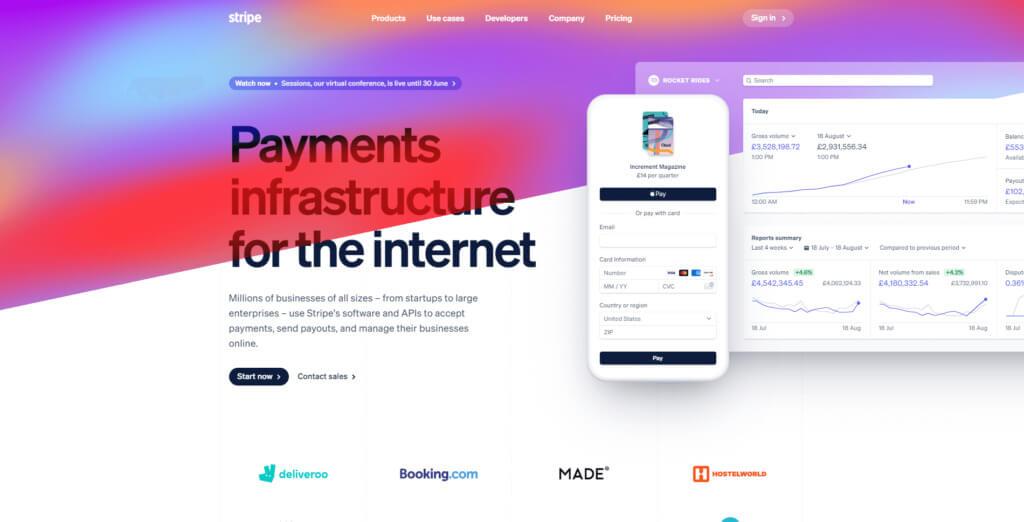 Stripe home page screenshot
