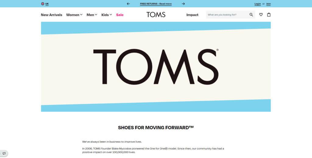 Toms home page screenshot
