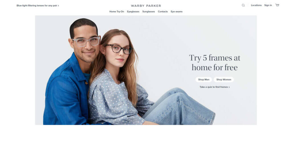 Warby Parker home page screenshot