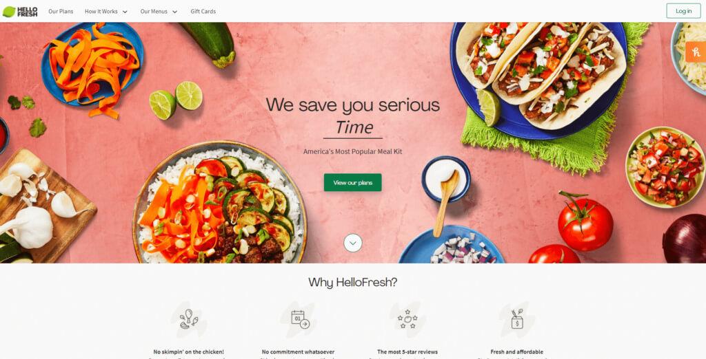 HelloFresh home page screenshot