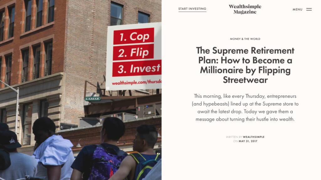 Wealthsimple's Supreme retirement article