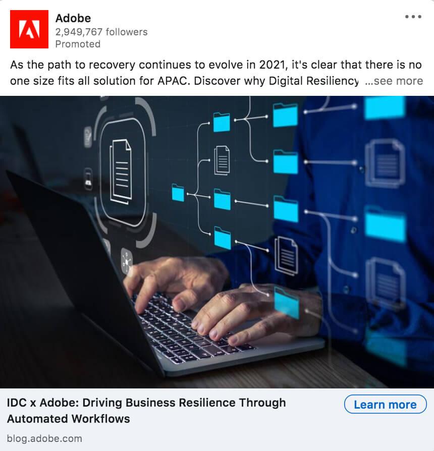 Adobe single image LinkedIn ad example