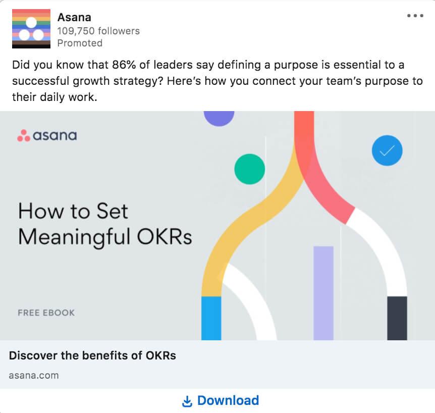 LinkedIn ad example from Asana