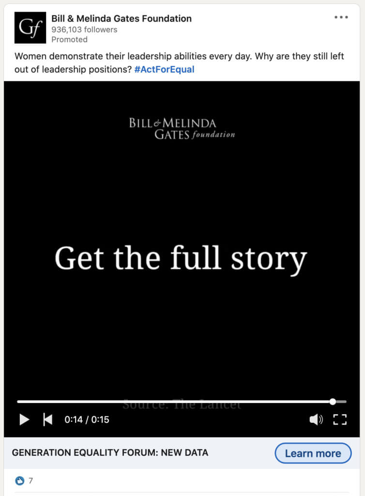 LinkedIn video ad example from Bill & Melinda Gates Foundation