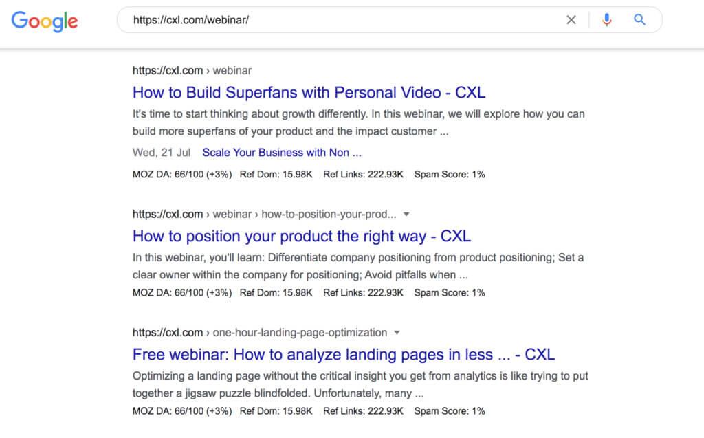 CXL webinar site structure in Google SERPs