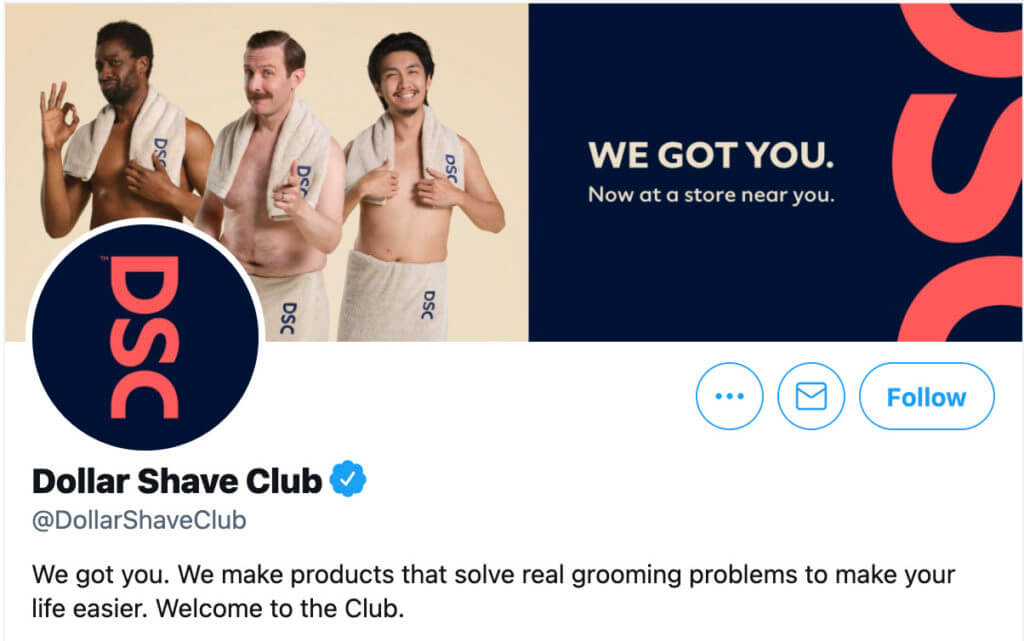 Dollar Shave Club's Twitter account featuring their USP