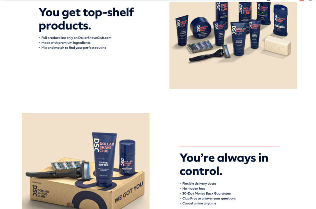 Dollar Shave Club's product messaging