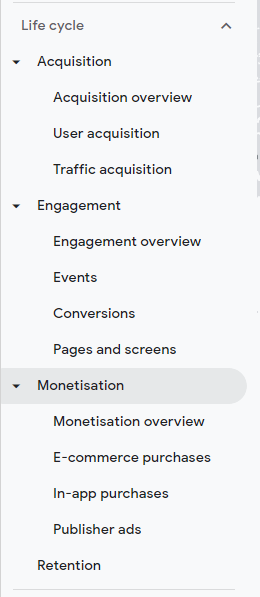 GA4 lifecycle menu options and reports
