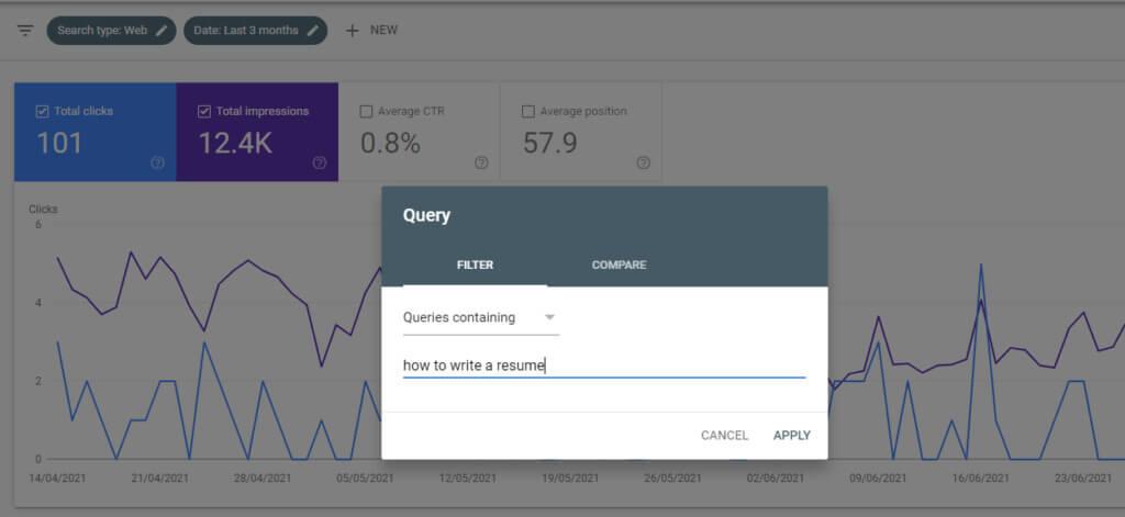 Google Search Console query search
