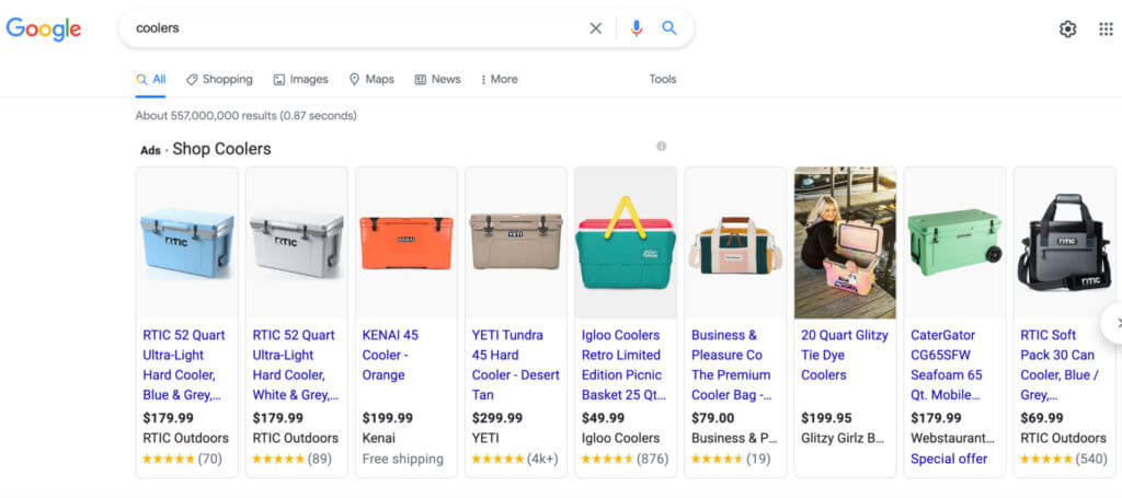 Google Shopping result for coolers