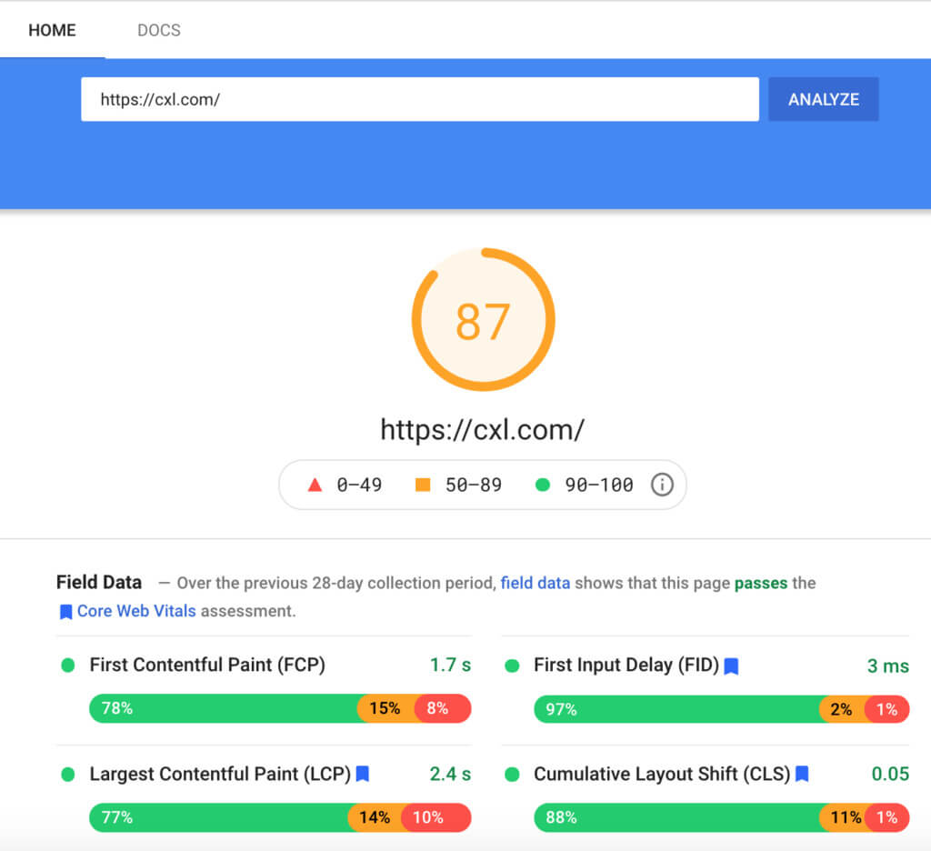 Google Site Speed Checker example