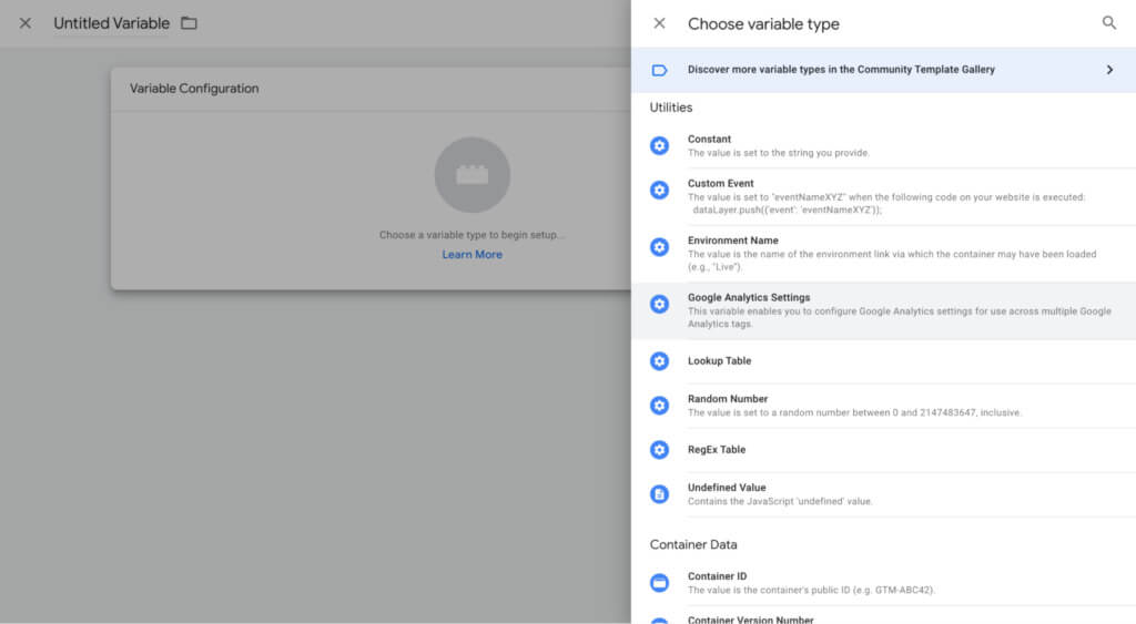 Google Tag Manager choose variable type