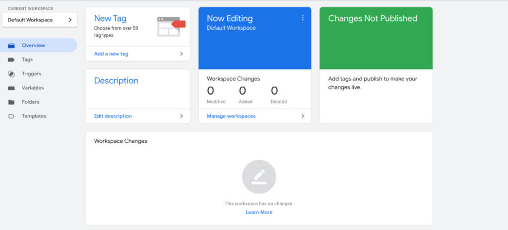 Google Tag Manager dashboard (new account)