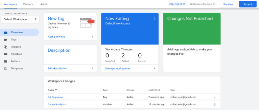 Google Tag Manager with workspace changes