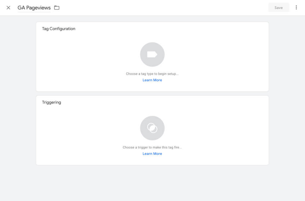 Google Tag Manager tag configuration and triggering view