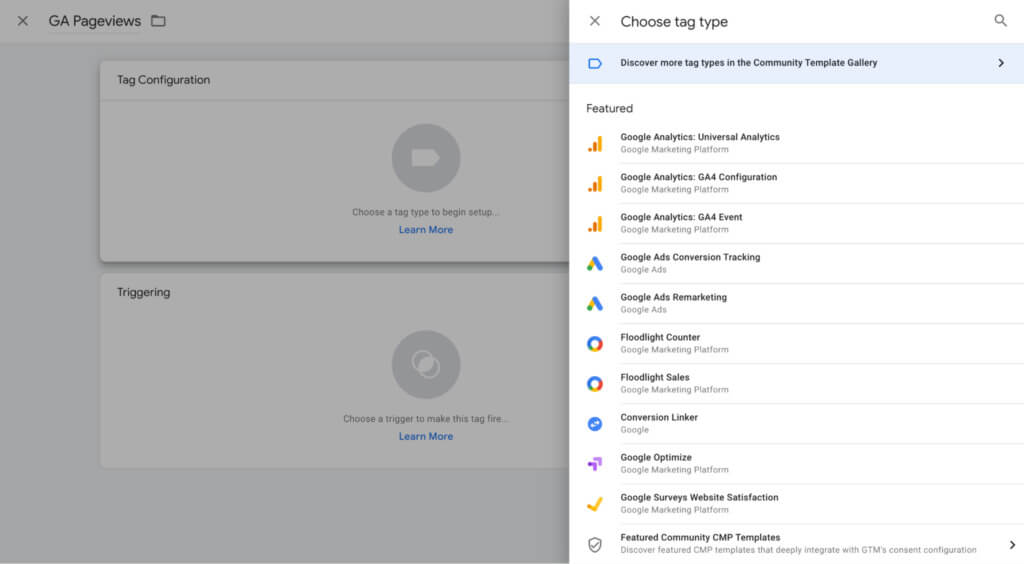 Google Tag Manager choose tag type