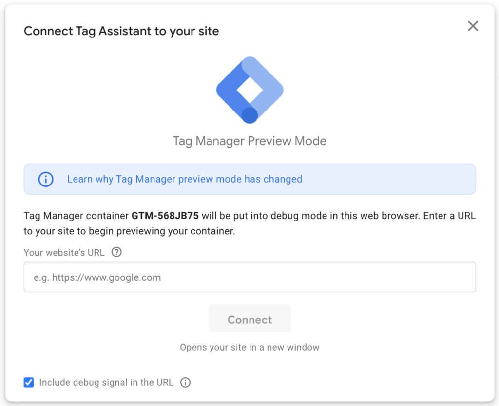 Google Tag Manager (Assistant) preview mode