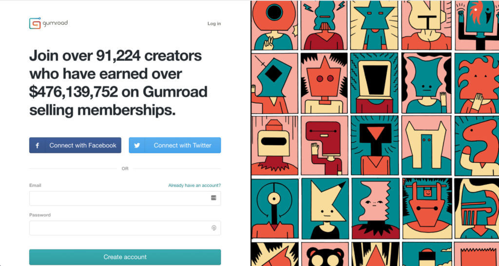 Gumroad's login page and value proposition