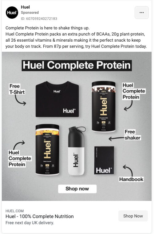 Facebook Ad example from Huel