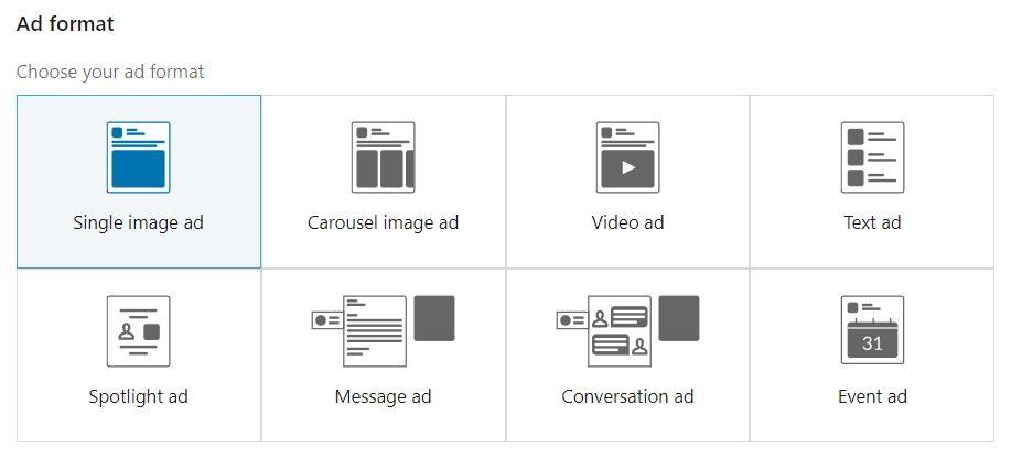 List of different ad formats on LinkedIn's ad platform