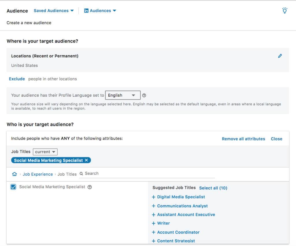 LinkedIn ad targeting by job title