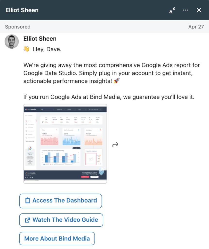 LinkedIn conversation ad example