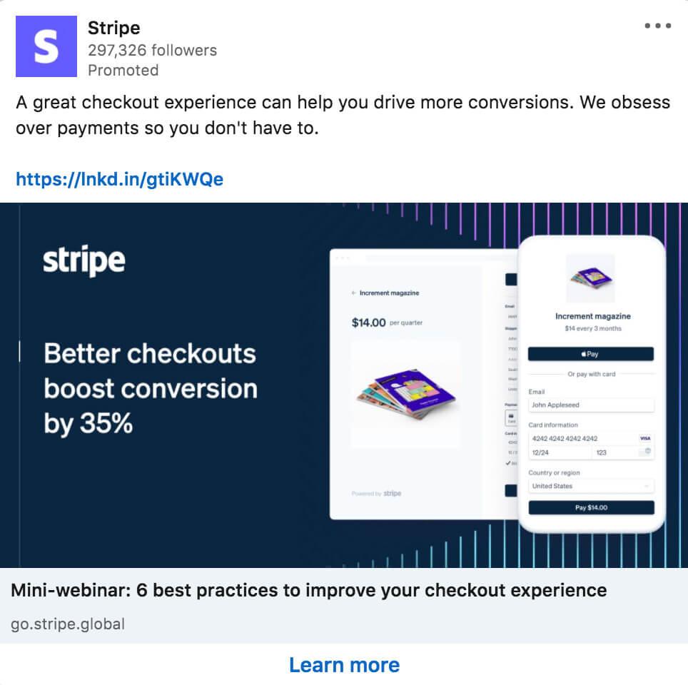 Stripe sponsored content on LinkedIn