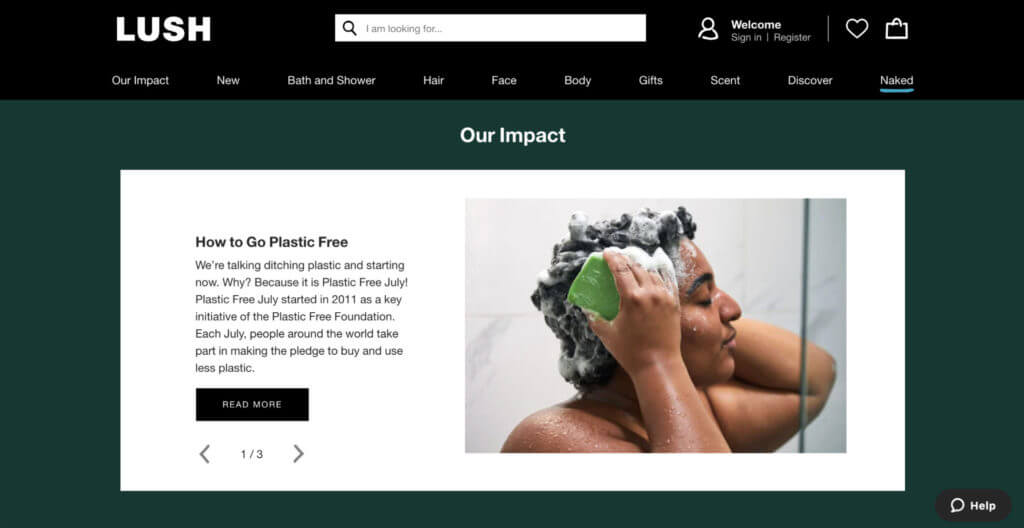 Eco-friendly brand messaging from LUSH