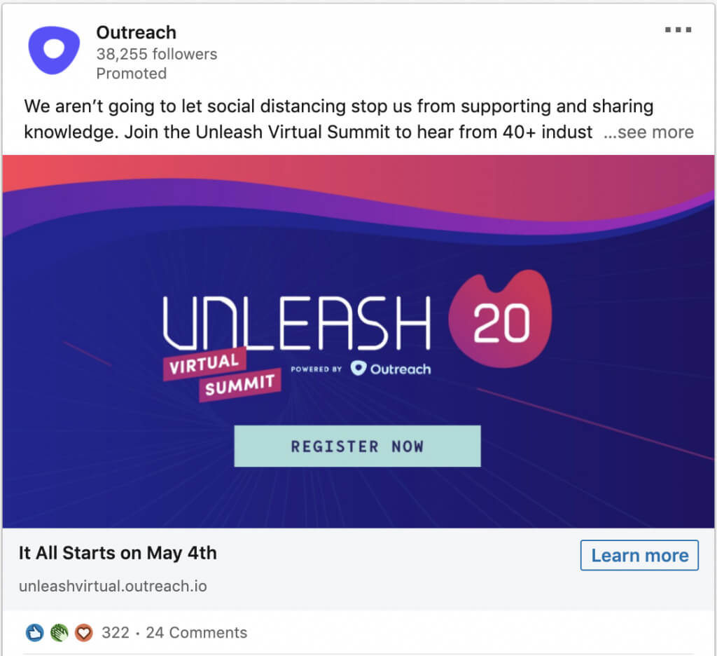 Event LinkedIn ad from Outreach