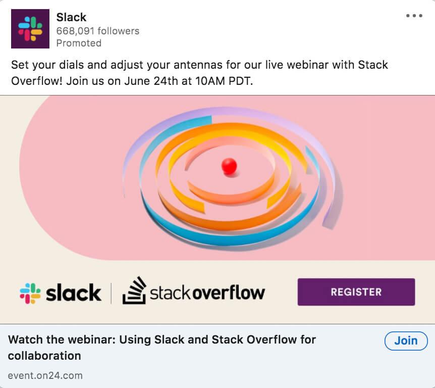 LinkedIn ad example from Slack