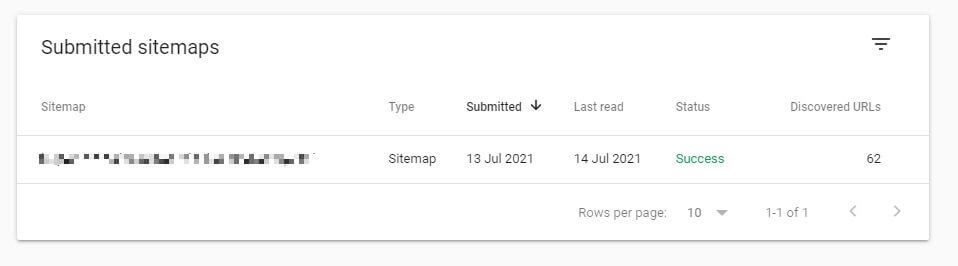 Screenshot of listed sitemap in Google Search Console