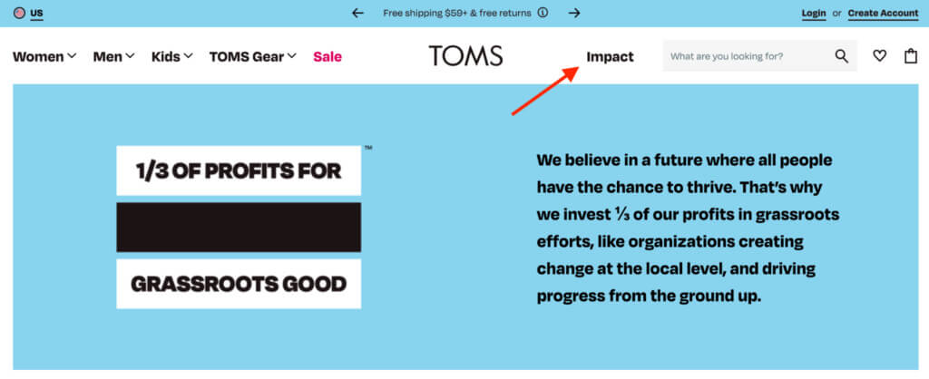 TOMS shoes Impact messaging