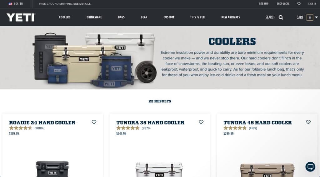 Yeti coolers product page screenshot