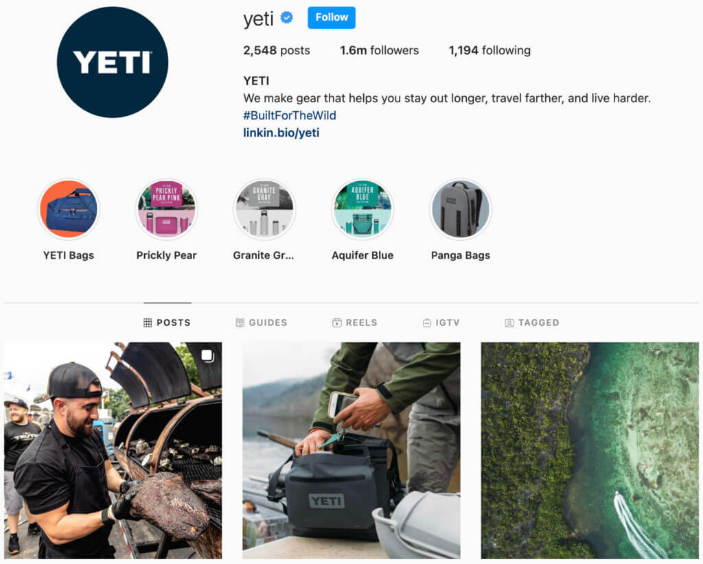 Yeti coolers Instagram page