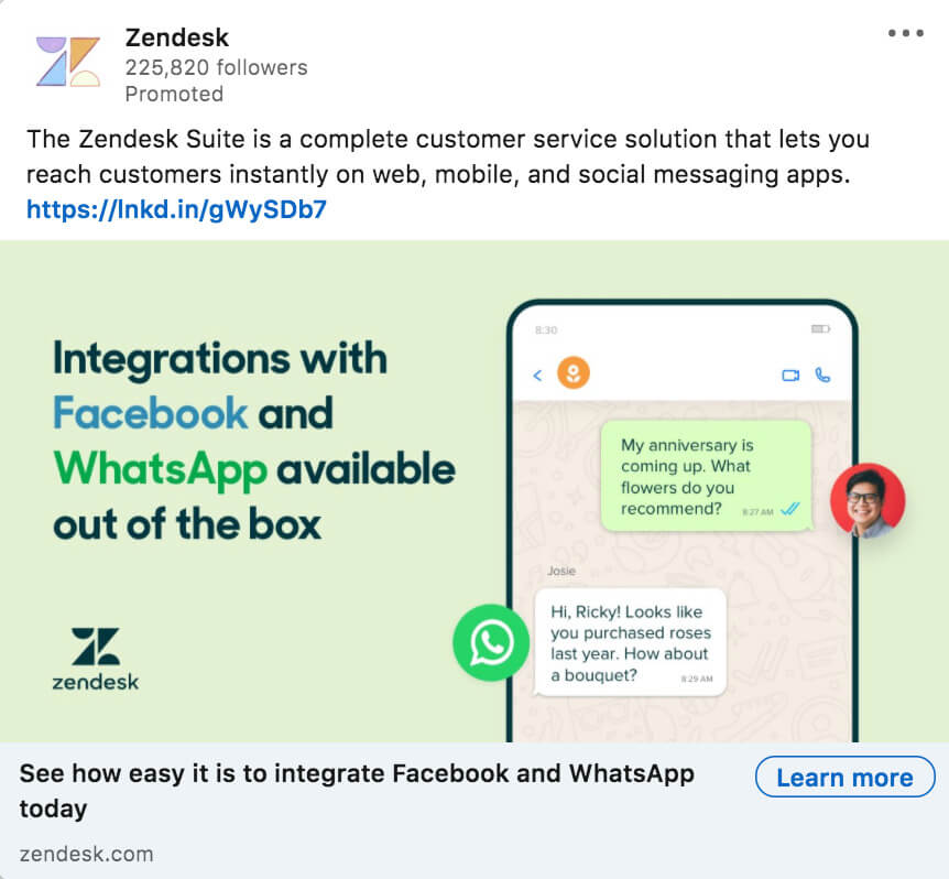 LinkedIn ad example from Zendesk