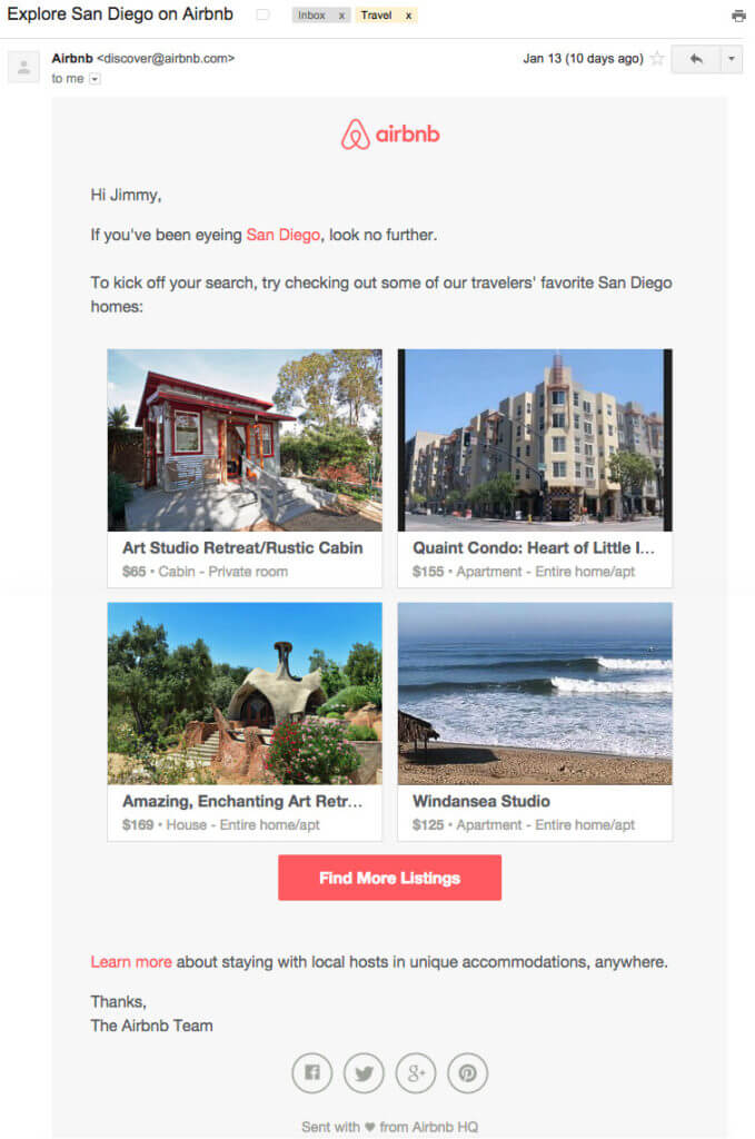 Example of behavioral email from Airbnb