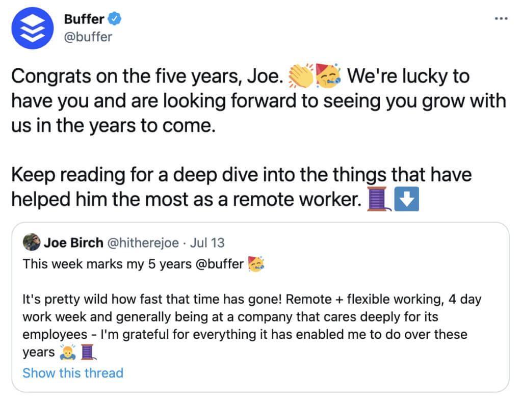 Buffer Twitter account celebrating employee milestone