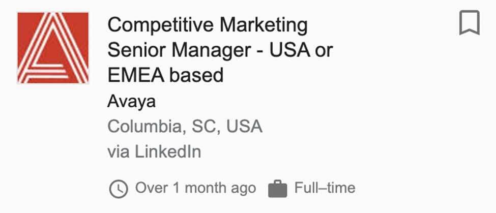 Competitive Marketing Senior Manager for Avaya Job Post Screenshot